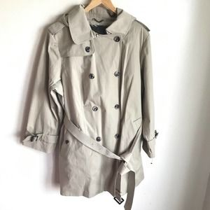London Fog Hooded Trench Removable Lining NWTS